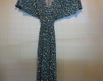 Blue leopard print Betsey Johnson wrap/kimono style dress