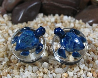 "Exotic Blue Turtle Pyrex Glass Plugs 2g 0g 00g 7/16"" 1/2"" 9/16"" 5/8"" 3/4"" 1"" 6.5 mm 8 mm 10 mm 12 mm 14 mm 16 mm 18 mm 20 mm 22 mm 25 mm"
