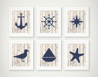 Nautical Art Print Set of 6 - Nautical Decor - Nautical Art  - Set of 6 Prints