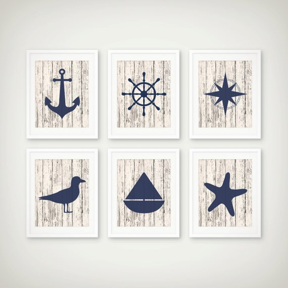 Nautical Art Print Set Nautical Decor Nautical Art Set