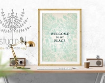 WELCOME SIGN PRINTABLE - Welcome sign in mint, welcome print, wall decor print, home decor print, welcome sign printable, instant download