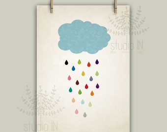 Rain drop, colorful raindrops, nursery cloud, nursery printable, rain, colourful rain,nursery printable, rainbow, INSTANT DIGITAL DOWNLOAD