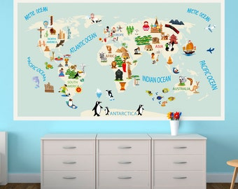 Typography world map country names world map decal large kids world map repositionable adhesive fabric sticker for kids bedroom and nursery gumiabroncs Images