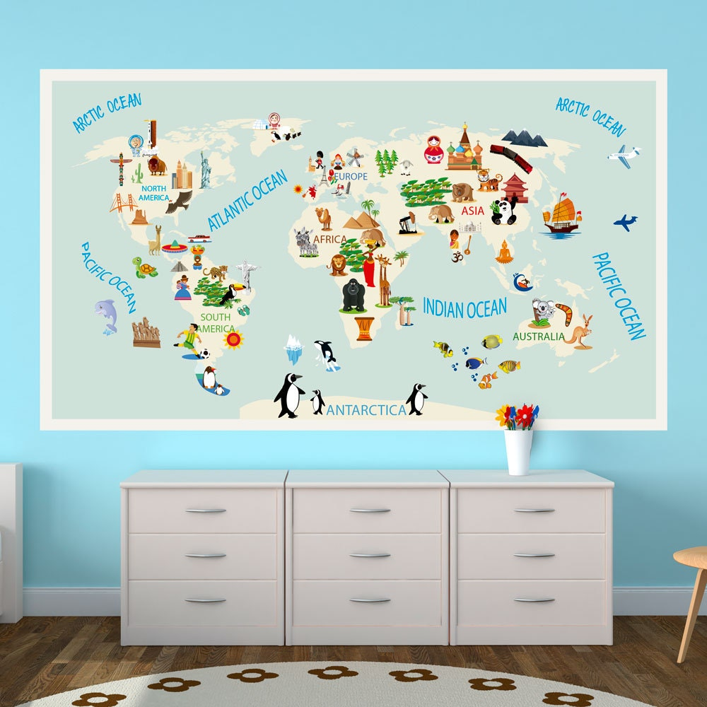 Kids world map repositionable adhesive fabric sticker for zoom gumiabroncs Images