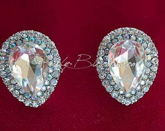 Bridal earrings, Clear Crystal Wedding Earrings Bling Wedding Jewelry, Bridal Accessory Earrings Old Hollywood Gatsby - Ruby Blooms Jewelry