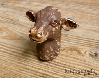 Brown Distressed Cow Knob - Dairy Cow Head Bust Drawer Pull - Farm Animal Nursery Decor - Country Decorative Knob - Cabinet Decor