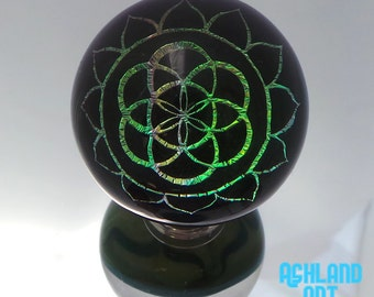 34mm Rainbow Metallic Seed of Life Sacred Geometry Dichroic Image Borosilicate Glass Marble with decorated back- 45 grams
