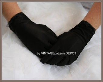 Women's Black Satin Gloves, wrist, full-fingered gloves for Brides, Bridesmaids, Formal, Prom, Costumes, one size s, m, l