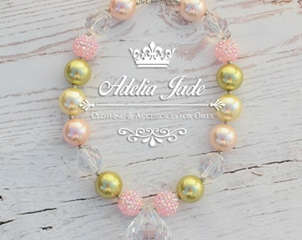 Girls Chunky Bubblegum Necklace, Baby Chunky Necklace, Chunky Baby Necklace, Cream Gold Pink Bubble Gum Childrens Necklace, Girl Photo Prop