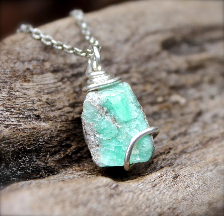 Rough Emerald Necklace Hippie Jewelry Raw Stone Jewelry - photo#7