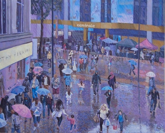 Rain Dance, original painting of shoppers on Croydon North End in a rain storm, acrylic on canvas board