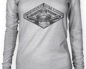 Russian 1905 Vintage Poster (Black) Women's Long Sleeve Top (Available Sizes: XS - XL)