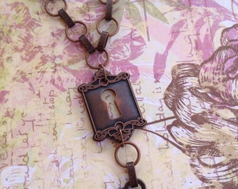 Copper Keyhole and Key long necklace