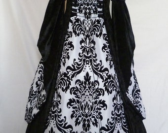 Hooded dress medieval gown pagan costume Renaissance wedding Handfasting black and white fantasy gown Goth Custom made to size