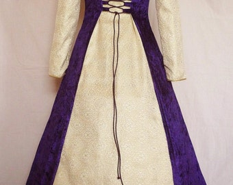medieval hooded wedding dress goth gown pagan costume purple Renaissance wedding Handfasting  made to order to any size larp sca