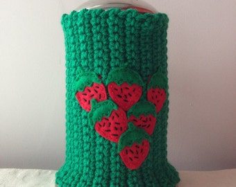 Strawberries Crochet French Press Cozy, Coffee Press Cozy, French Press Cover by Maroozi