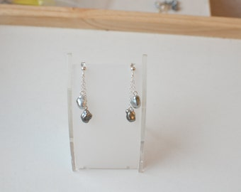 Earrings silver chains and Keishis (#5003)