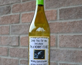 Pregnancy Announcement, Baby Announcement Wine Bottle Label, Custom Wine Label Pregnancy