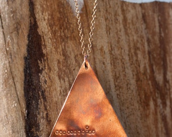 Copper Pyramid Necklace with Stamping