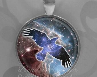 Cosmic Crow Spirit Animal Hubble Space Pendant & Descriptive Bookmark - star cluster, monkeyhead nebula, astronomy pendant