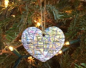 Dallas Fort Worth Map Ornament