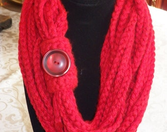 Red Crochet Infinity Scarf with Button.