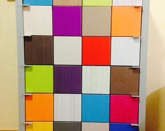 Six drawers chiffonier, functional and handmade. 35mm. structure of lacquered MDF. Drawer's front with coloured squares.