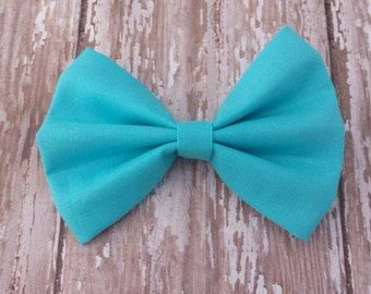 Solid Turquoise Fabric Hair Bow Clip or Headband / Turquoise Hair Bow / Solid Turquoise Hair Bow / Solid Turquoise Bow Clip / Turquoise Bow