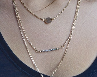 Sale Layered Pendant Chain Long Bar Gold Necklace with Light Blue beads// Bridesmaids Gift