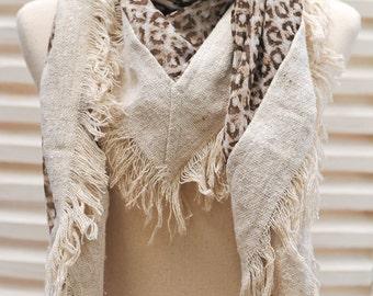 SALE Brown Leopard scarf Animal Print Large square chiffon scarf, Woman fashion scarf, Fall Scarf, Winter Scarf