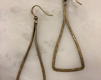 Triangular Antiqued Brass Earrings