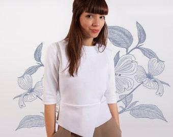 White Shirt, White Women's Shirt, White Peplum Top, Chiffon Top, Prom Top, Long Sleeved Top, Spring Shirt, Trendy Womens Clothing