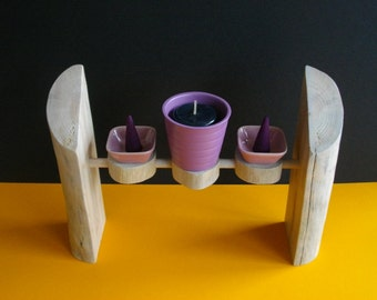 wooden effect floated with candle and incense stand