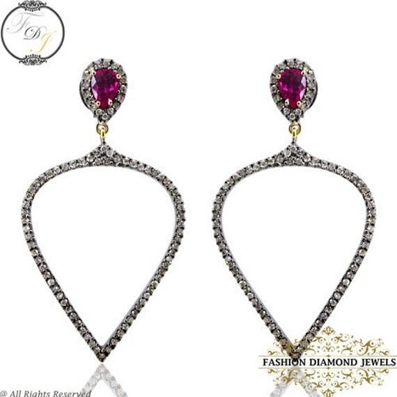 Natural Diamond Pave Designer Dangle Earrings, 14K Gold 925 Sterling Silver Ruby Gemstone Diamond Fashion Earrings,14K Yellow Gold Jewelry Natural Diamond Pave Designer Dangle by fashiondiamondjewels - 웹