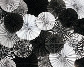 Black and White Paper Fan Backdrop Set of 15 Fans