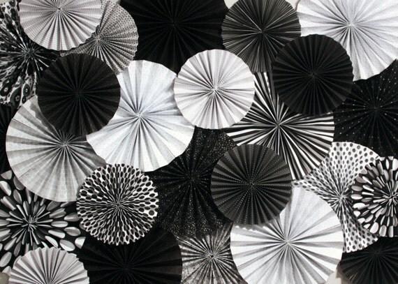 black and white paper fan backdrop set of 29 fans
