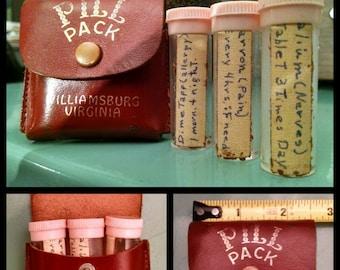 Vintage Leather  Souvenir Pill Case