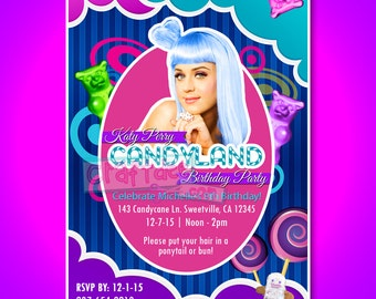 Katy Perry Candyland Birthday Party Invitation - Gummi Bears, Gingerbread Man, Candy and Lollipops