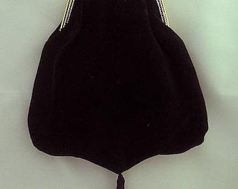 Black Velveteen Shoulder Purse - Renaissance