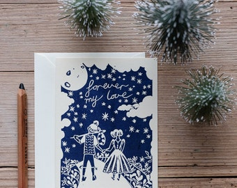Forever my love – Handprinted greeting card.