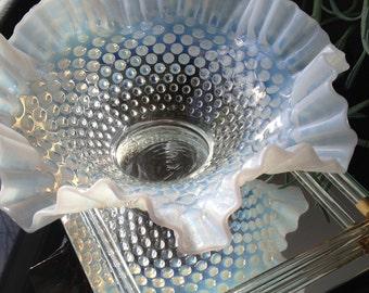 Fenton Wedding Centerpiece Bowl Opalescent Glass Bowl 1940's Hobnail Bowl Vintage Glass Bowl Glam Bowl Iridescent Bowl Vintage