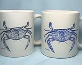 Chesapeake Bay Blue Crab Mug, pair of 11 oz mugs