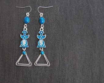 SALE! Long Linked Blue Tribal Earrings -  tiny faux coins - recycled vintage jewelry components