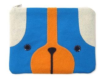 Puppy Dog Zipper Pouch in Blue and Orange