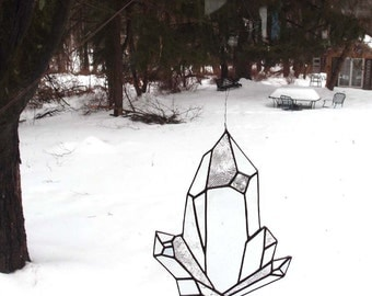 Quartz Crystal Stained Glass Sun Catcher - An Original Drawing in Clear Textured Art Glass
