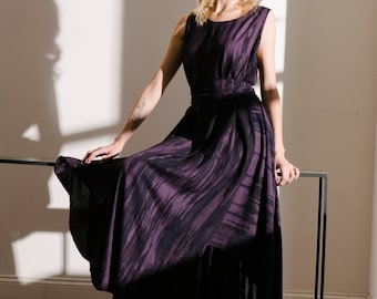 Rayon purple stripe maxi dress