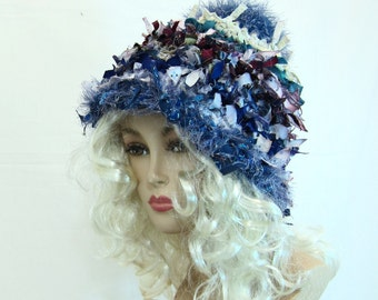 Crochet crazy boho hat crochet hat hats for women funky hat rag hat statement hat cool crazy hat beanie cloche hat shabby chic denim hat