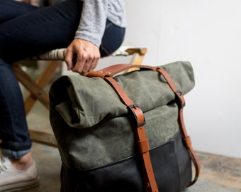 Leather and Waxed Canvas Weekender Bag- Olive Canvas, Black Leather. The HotShot Weekender by Awl Snap