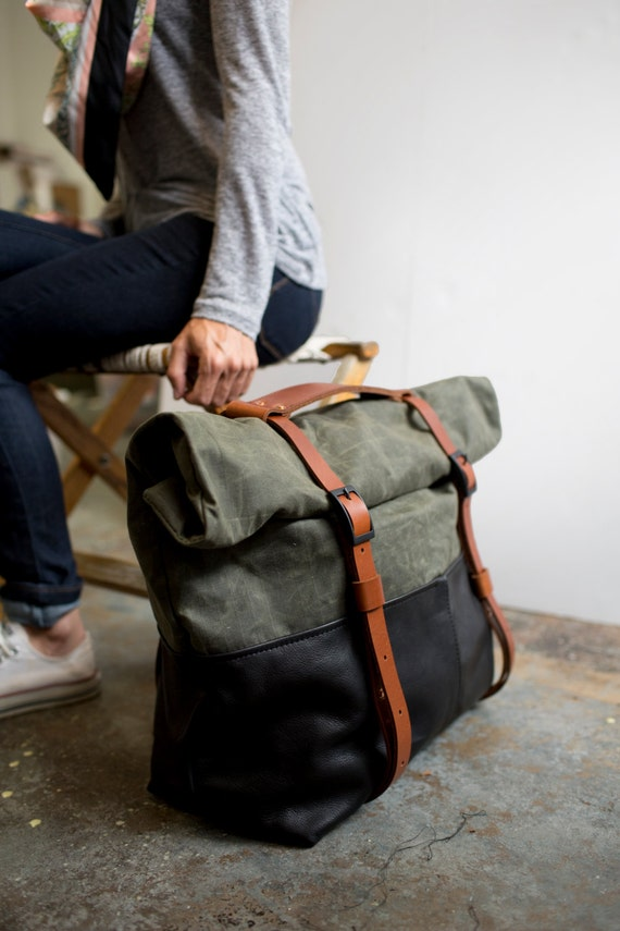 Leather And Waxed Canvas Weekender Bag Olive Canvas Black