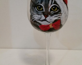 """Hand Painted Meowy Christmas Tiger Tabby Cat Wine Glass """"Boots"""" Pet Lovers Boutique"""